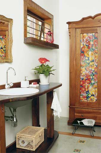 decoração rústica banheiro