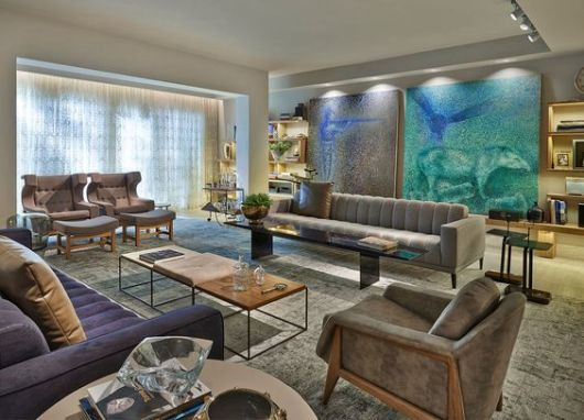 Sala de estar moderna como decorar for Como decorar sala grande
