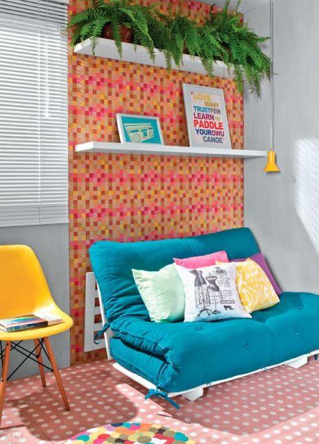 decoração com sofá cama futon