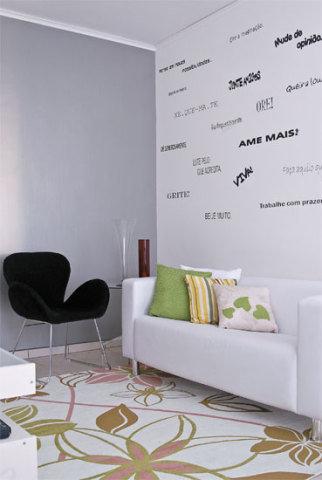 parede decorada com adesivos