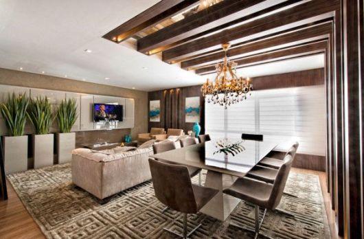 Sala De Jantar Rebaixada Com Gesso ~ sala de jantar com sala de tv