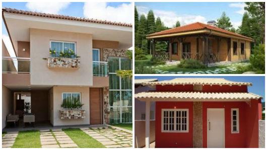 fachada de casas com terraço na frente