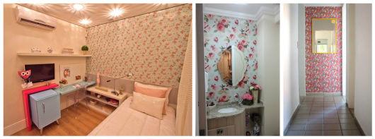 parede decorada com tecido