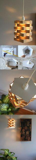 diy luminária de papelão