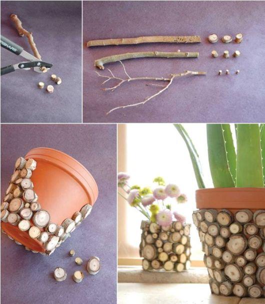 vaso de plantas decorado