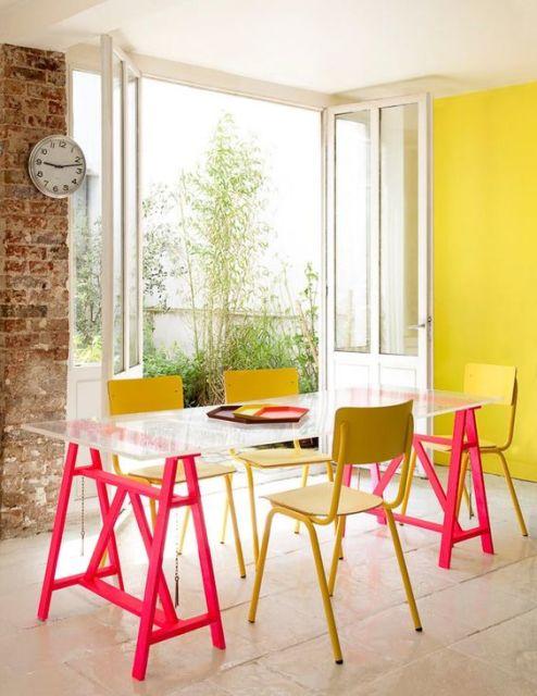 mesa cavalete decoração