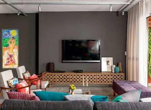 Sala De Tv Sofá Cinza ~ sala de TV moderna