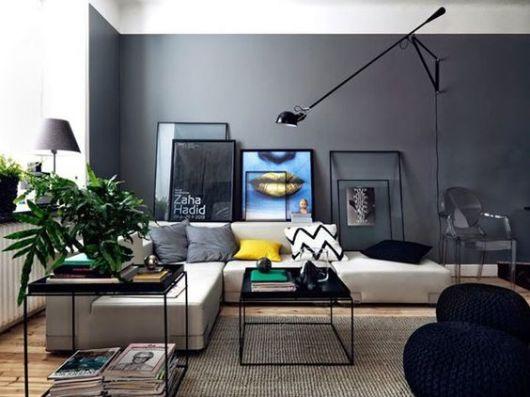 decoração cinza e preta