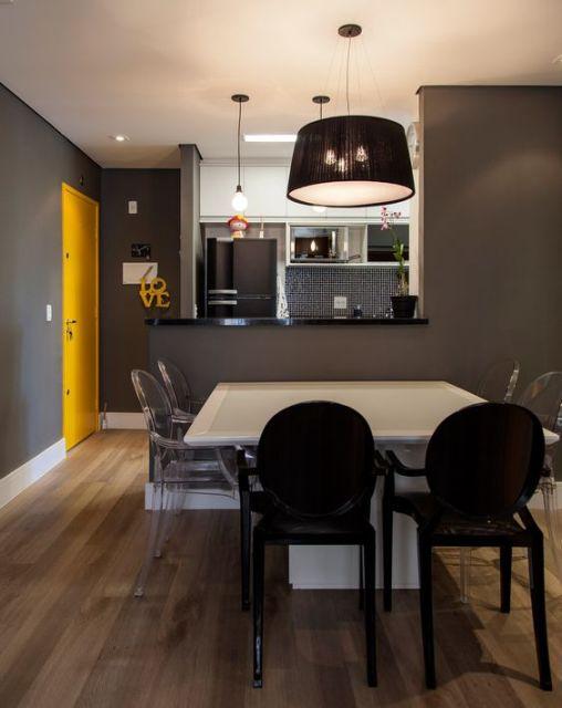 sala de jantar com cozinha americana