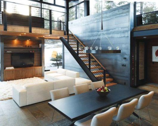 sala de jantar com sala de TV
