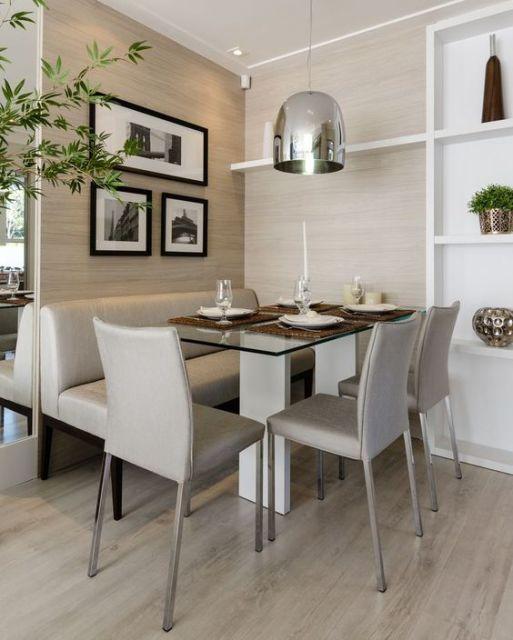 sala de jantar piso que imita madeira