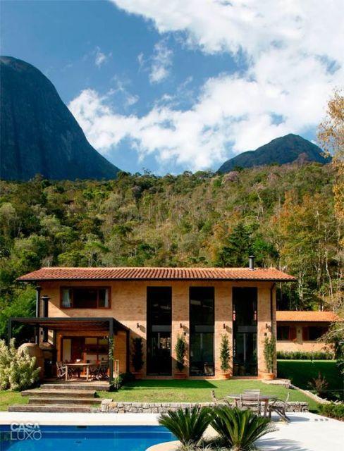 casa moderna tijolo a vista