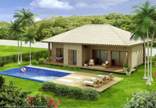 60 casas de campo projetos imperd veis modelos e plantas for Casa de campo pequena con piscina