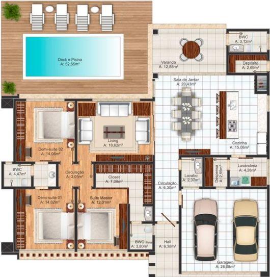Casa de campo modelos projetos e plantas for Plantas de casas modernas con piscina