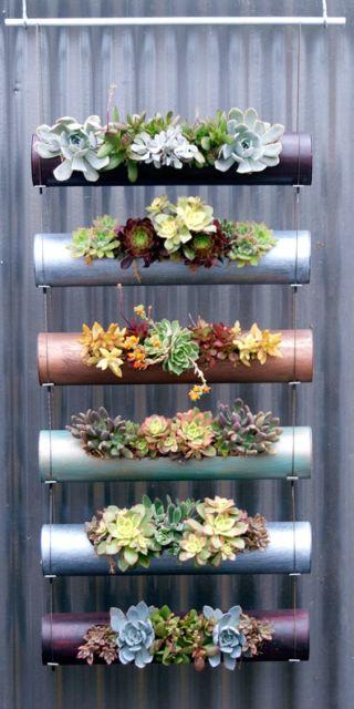jardim suspenso com canos PVC