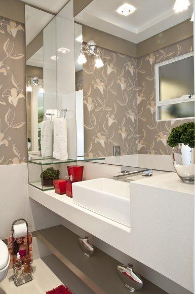 papel de parede floral lavabo