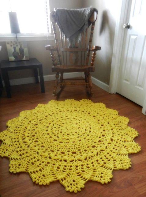 tapetes de croche para sala de estar