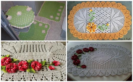 4 tapetes diferentes com aplicações de flores