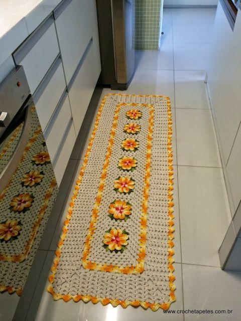 tapetes de crochê para cozinha bordado com flores