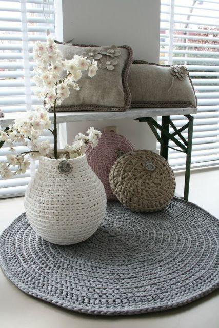 Tapete de croch barbante 80 modelos incr veis como fazer Crochet home decor on pinterest