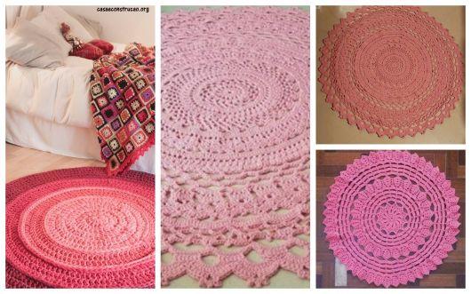 quatro modelos de tapete de barbante redondo em tons de rosa