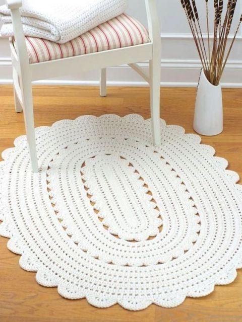 tapete branco oval