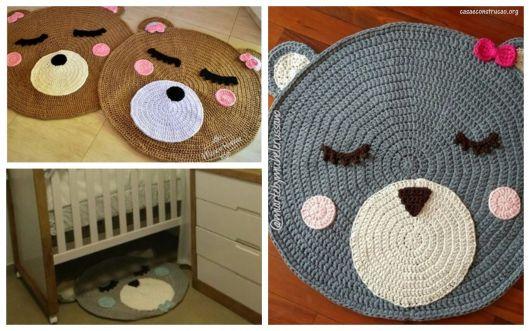 três modelos de tapete com rosto de urso marrom e cinza
