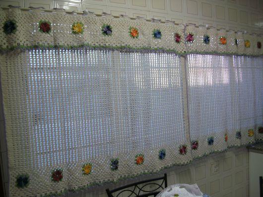 cortina para cozinha crochê flores