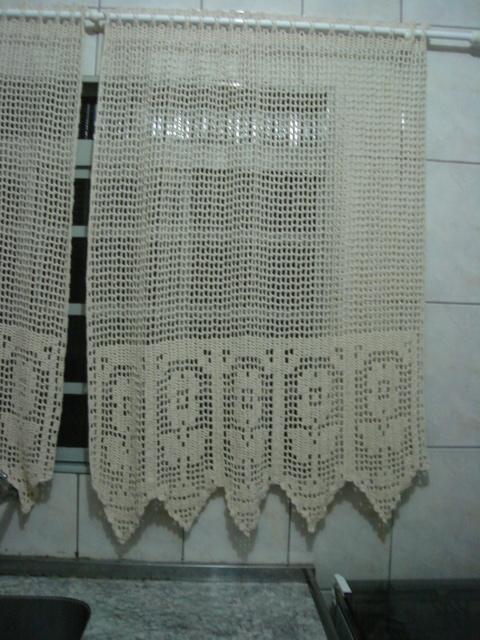 cortina para cozinha crochê branca