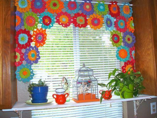 cortina para cozinha croche flores