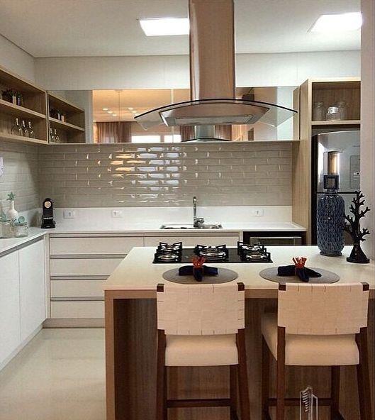 70 Projetos de Cozinha Planejada Pequena Decoração, dicas e preço! # Cozinha Pequena Inox Ou Branco