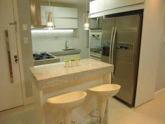 70 Projetos de Cozinha Planejada Pequena Decoração, dicas e preço! # Ilha Cozinha Tijolo