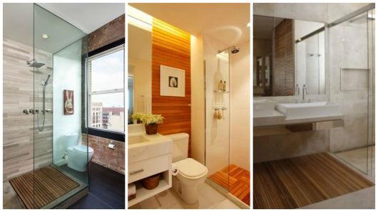 banheiro com plataforma madeira
