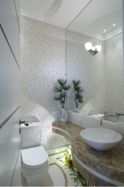 75 Plantas Artificiais Dicas e Decorações com folhagens! -> Banheiro Decorado Com Aquario