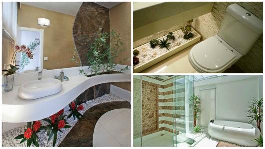 75 Plantas Artificiais Dicas e Decorações com folhagens! -> Banheiro Decorado Com Planta Artificial