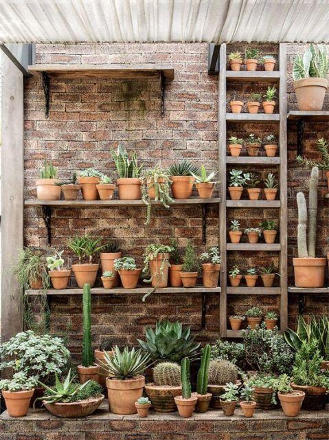90 modelos de prateleiras ideias funcionalidade e dicas for Estantes para plantas exteriores