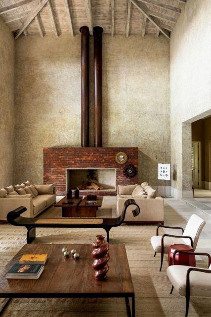 salas modernas com lareira