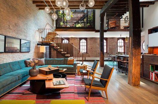 salas modernas com tijolos à vista