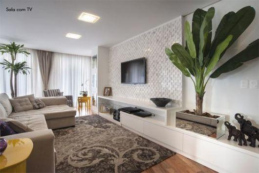 Sala De Tv Com Um Sofa ~ Sofá com chaise 55 modelos e ideias de como usar na sala!