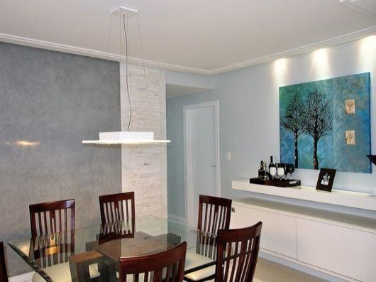 sala de jantar parede marmorato
