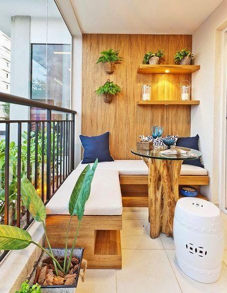 Varanda gourmet decorada 70 fotos lindas e dicas de m veis for Small balcony seating ideas