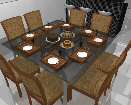 Mesa com 8 lugares quadrada