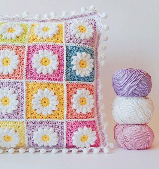 almofadas de crochê flores