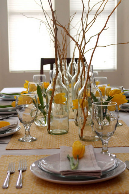 enfeites de mesa de jantar galhos