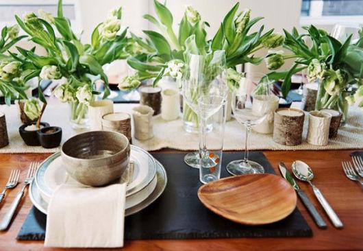 enfeites de mesa de jantar natural