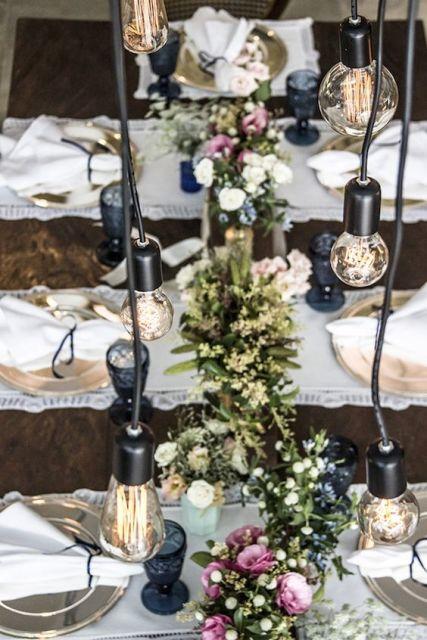 enfeites de mesa noivado e casamento lâmpada