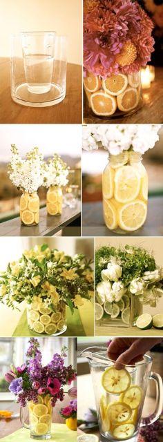 enfeites de mesa noivado e casamento limões
