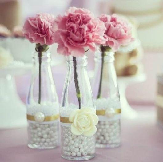 enfeites de mesa noivado e casamento pérolas