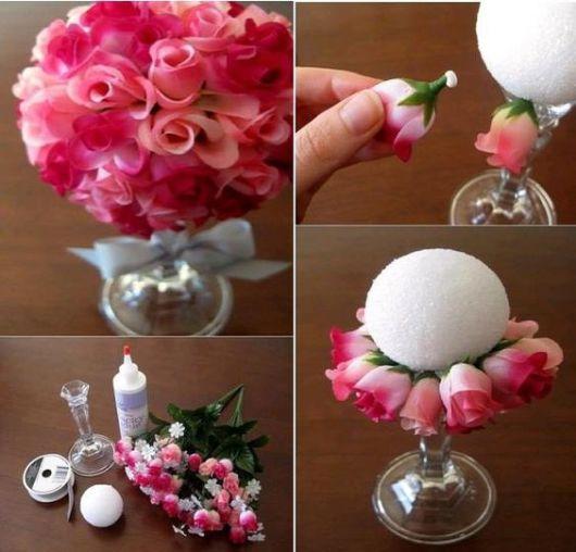 enfeites de mesa noivado e casamento rosas