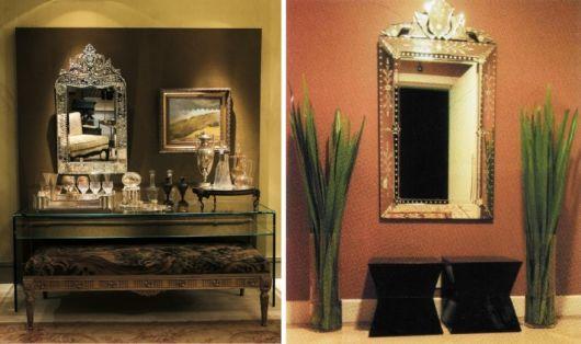 espelho veneziano no hall de entrada dois modelos